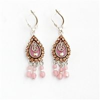 Antick Pink Drop Silver Earrings
