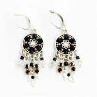 Black Round Silver Earrings