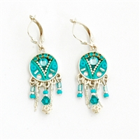Turquoise Round Silver Earrings