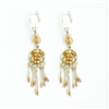 Golden Round Silver Earrings