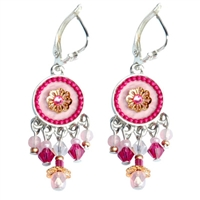 Pink Round Silver Earrings