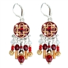 Red Round Silver Earrings