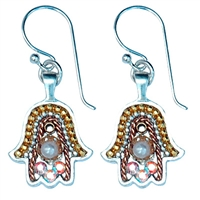 silver & gold hamsa earrings by Ester Shahaf