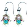 pink and green hamsa earrings