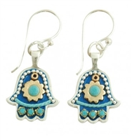 Bluish Hamsa Earrings - Small - by Ester Shahaf