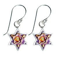 Purple Star of David Earrings by Ester Shahaf