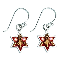 Royal Red Star of David Earrings by Ester Shahaf