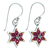 Red Rose Star of David Earrings by Ester Shahaf