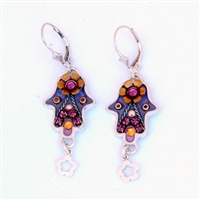 Purple Hamsa Earrings - by Ester Shahaf