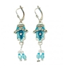 Blue Hamsa Earrings - by Ester Shahaf