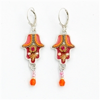 Orange Hamsa Earrings - by Ester Shahaf
