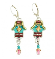 Oriental Turquoise Hamsa Earrings - by Ester Shahaf
