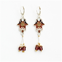 Brown & Pink flower Hamsa Earrings - by Ester Shahaf
