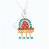 Large Silver Hamsa Turquoise Necklace by Ester Shahaf