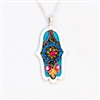 Blue with flower Hamsa Necklace by Ester Shahaf