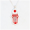 Orange  Hamsa Necklace by Ester Shahaf