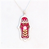 Wheat branch red  Hamsa Necklace by Ester Shahaf