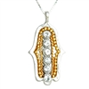 Gold & Crystal  Hamsa Necklace by Ester Shahaf