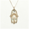 Siver & White  Hamsa Necklace by Ester Shahaf