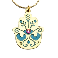 Gold Plated Hamsa Necklace by Ester Shahaf