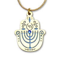 Menorah Hamsa Necklace by Ester Shahaf
