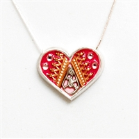 Red Medium Silver Heart Pendant by Ester Shahaf