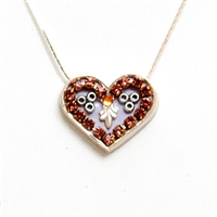 Purple Silver Heart Pendant by Ester Shahaf