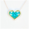 Turquoise Silver Heart Pendant by Ester Shahaf
