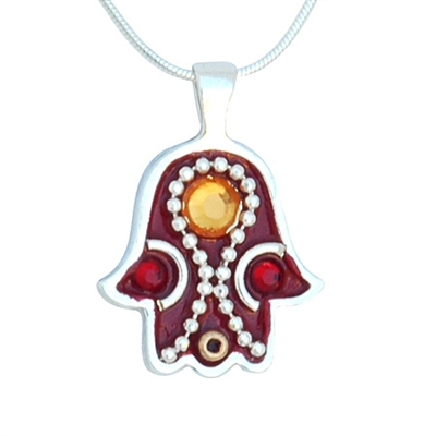 Burgundy Hamsa Necklace by Ester Shahaf