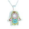 Yellow-Pink Hamsa Necklace by Ester Shahaf