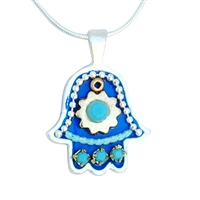 Blue Hamsa Necklace by Ester Shahaf