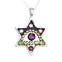 Purple Eye Star of David Necklace