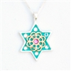 Green Star of David Necklace
