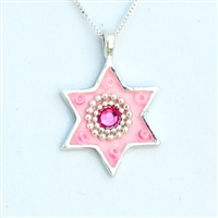 Pink Star of David Necklace