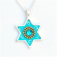 Baby Blue Star of David Necklace