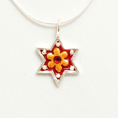 Red Flower Small Star of David Necklace by Ester Shahaf