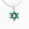 Turquoise Hamsa Small Star of David Necklace by Ester Shahaf