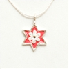 Pink Flower Hamsa Small Star of David Necklace by Ester Shahaf