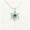 Light Blue Hamsa Small Star of David Necklace by Ester Shahaf