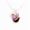 Purple  Silver Dove Necklace by Ester Shahaf