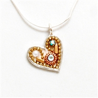 White & Gold Small Silver Heart Pendant by Ester Shahaf