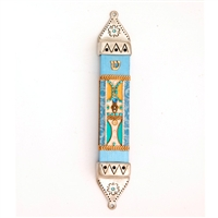 Turquoise Wood & Pewter Mezuzah Case by Ester Shahaf