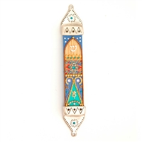 Purple & Green Wood & Pewter Mezuzah Case by Ester Shahaf