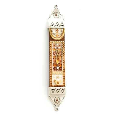 Brown Wood & Pewter Mezuzah Case by Ester Shahaf