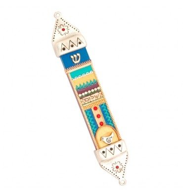 Colorful Wood & Pewter Mezuzah Case by Ester Shahaf