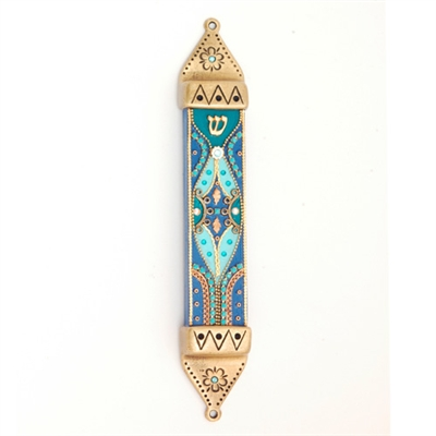 Blue Wood & Pewter Mezuzah Case by Ester Shahaf