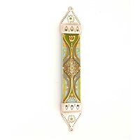 Green Wood & Pewter Mezuzah Case by Ester Shahaf