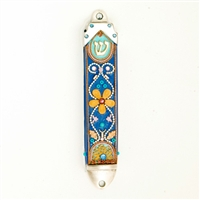 Blue Flower Mezuzah Case  by Ester Shahaf