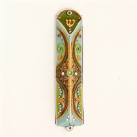 Green & Blue Triangle Mezuzah Case by Ester Shahaf