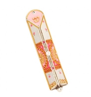 Pink Triangle Mezuzah Case with Flowers by Ester Shahaf